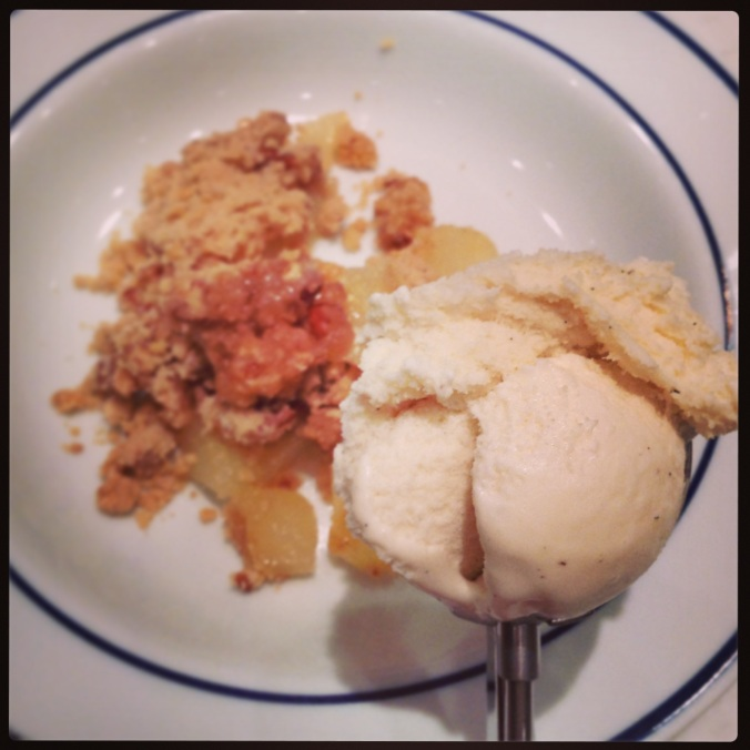 Pear Crisp and Ice Cream